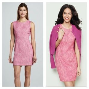 T Tahari pink Dakota tweed sheath sleeveless dress
